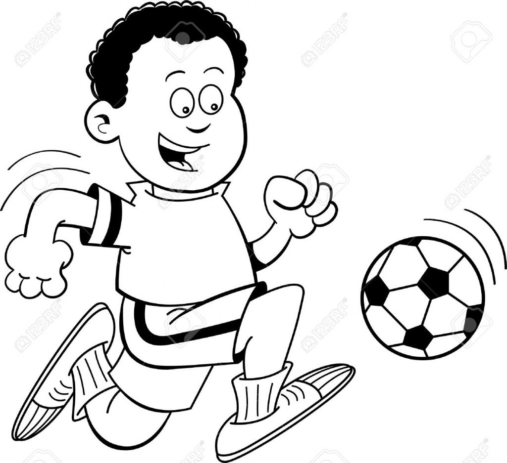 1024x937 Boy Playing Football Drawing Soccer Clipart Black Boy