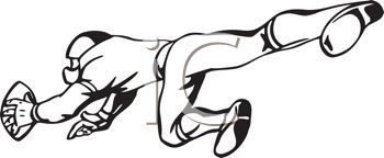 350x144 Football Player Clipart Black And White