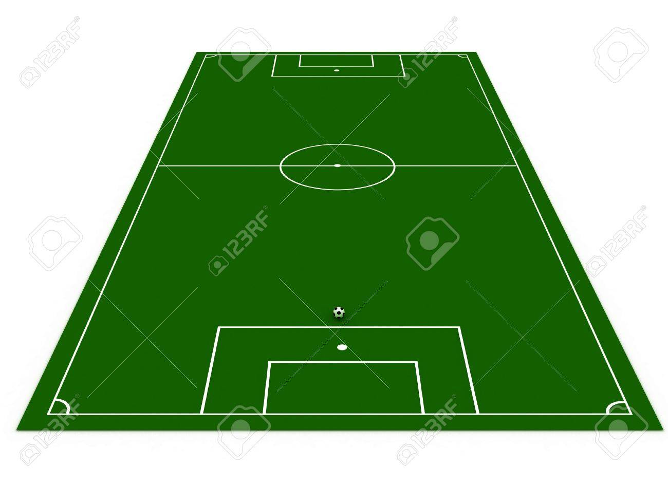 1300x975 Football Field With Soccer Ball On White Background. 3d Image