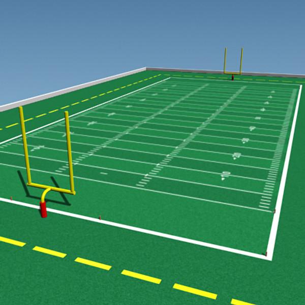 600x600 Realistic Football Field 3d Model