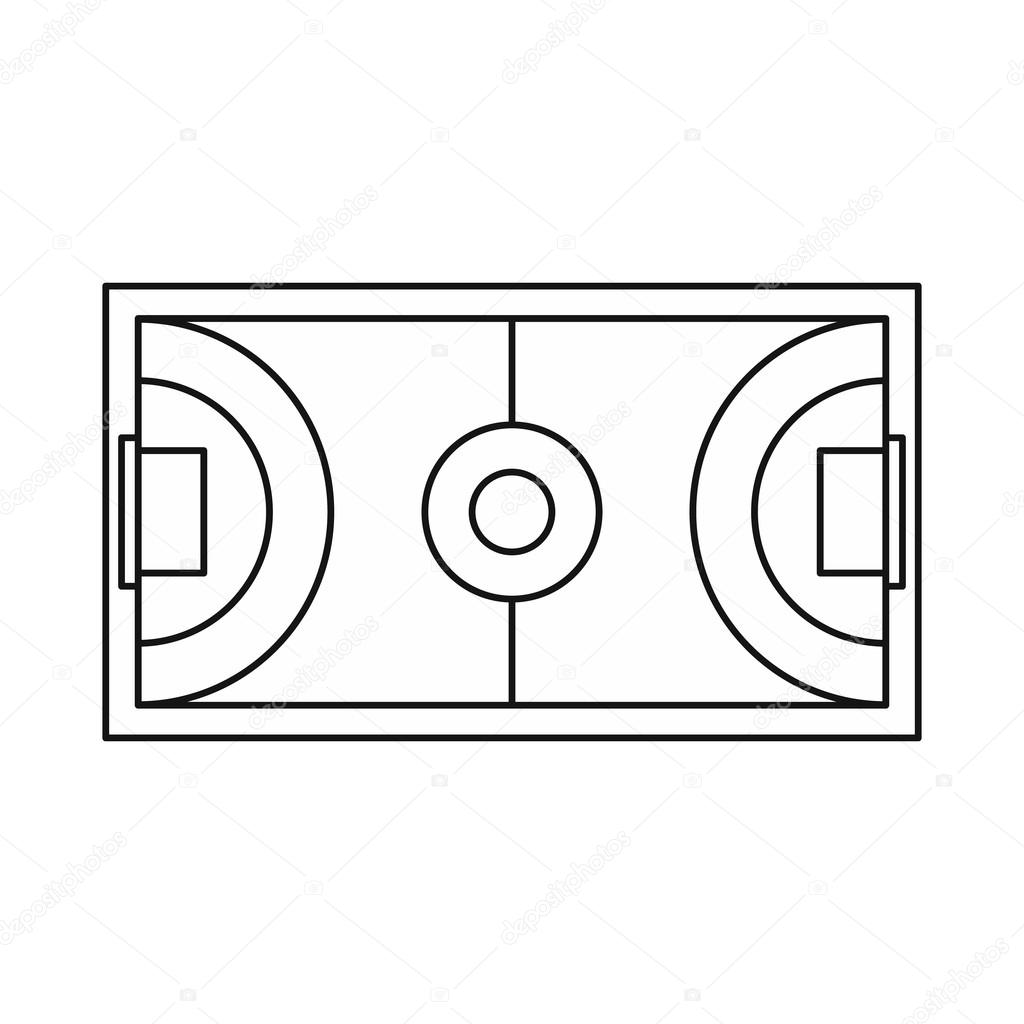 1024x1024 Futsal Or Indoor Soccer Field Icon, Outline Style Stock Vector