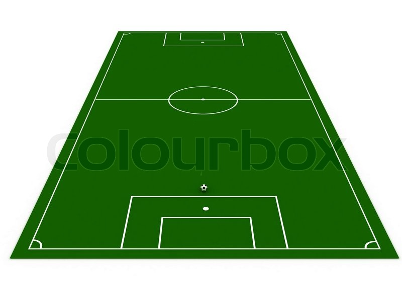800x600 Football Field With Soccer Ball On White Background Stock Photo