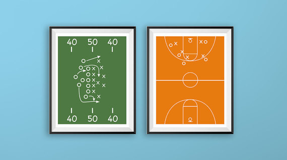 570x319 Printable Wall Art Football Field Print Football Decor Size