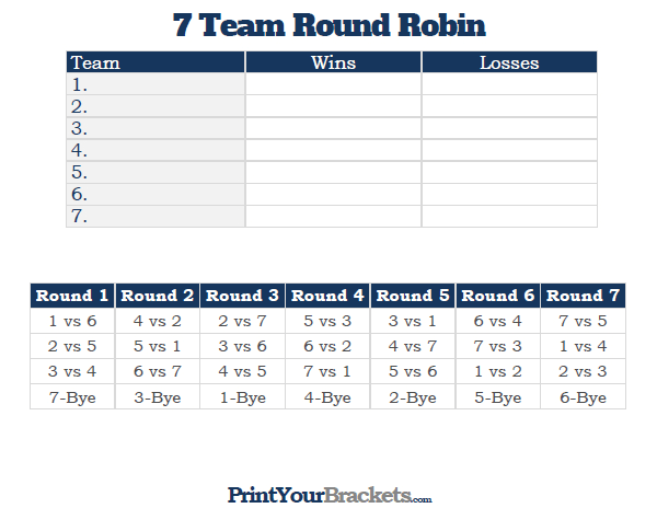 600x464 7 Team Round Robin Printable Tournament Bracket