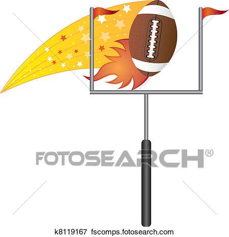 450x465 Clip Art Of American Football With Goal Post K8119167