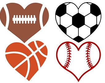 340x270 Sport Ball Heart Svg, Football Heart Svg, Baseball, Basketball