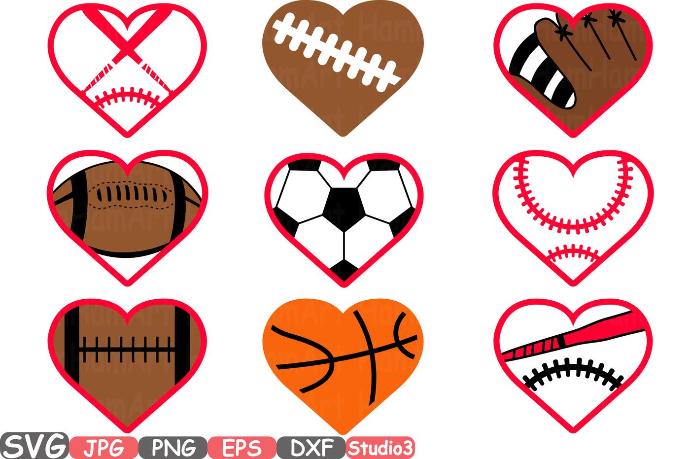 1400x931 Sports Heart Balls Silhouette Svg Cutting Files Digital Clip Art
