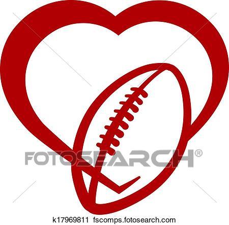 450x443 Clipart Of American Football Heart K17969811