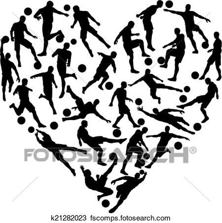 450x453 Clipart Of Football Soccer Heart K21282023
