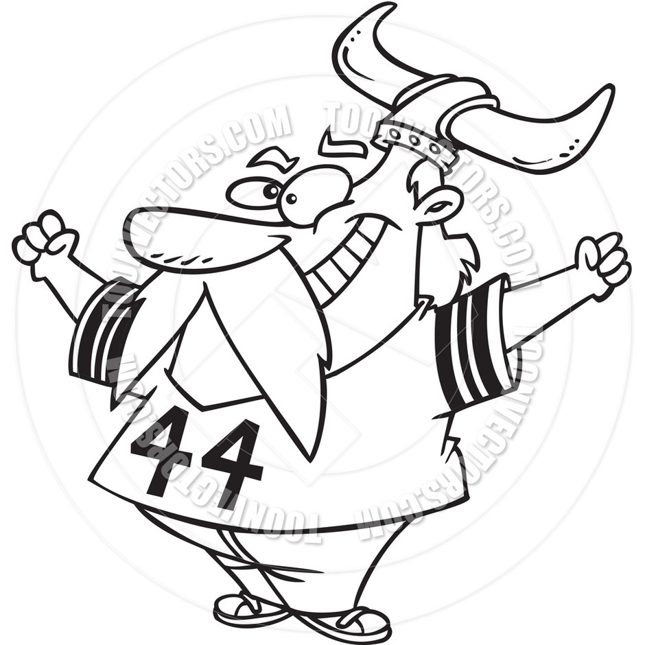 940x940 Cartoon Viking Football Fan (Black And White Line Art) By Ron