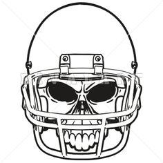236x236 Sports Clipart Image Of Black White Football Skull Helmet Graphic
