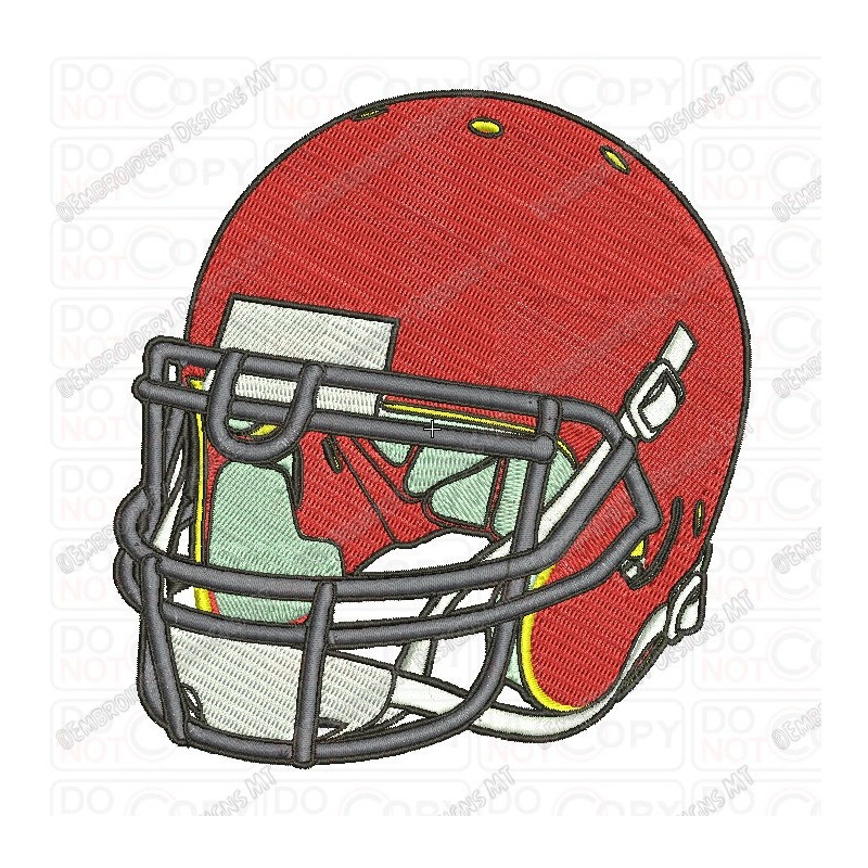 800x800 Football Helmet Front Angle View Embroidery Design In 3x3 4x4