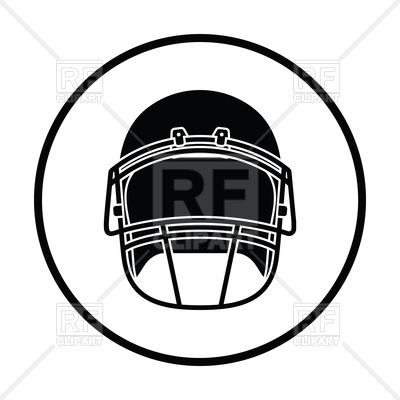 400x400 Thin Circle Design Of American Football Helmet Icon Royalty Free