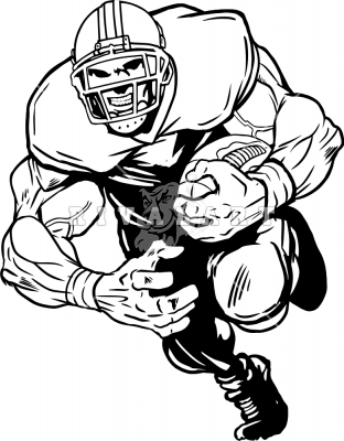 312x400 Football Player Running Clipart