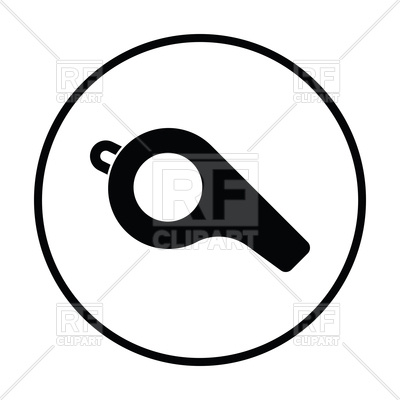400x400 Thin Circle Design Of Football Whistle Icon Royalty Free Vector