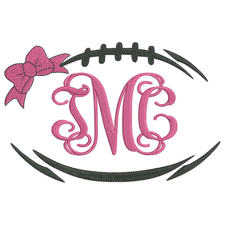 720x720 Bow Football Laces Monogram Frame Embroidery Design Instant