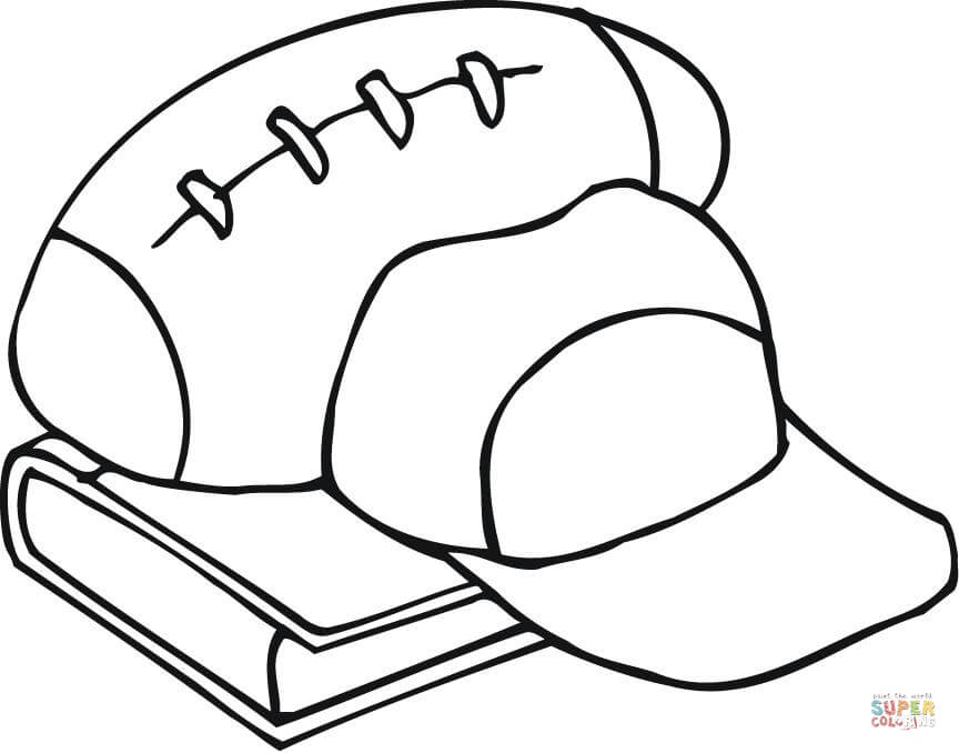 864x678 Football Outline Outline Of Football Equipment And A Book Coloring