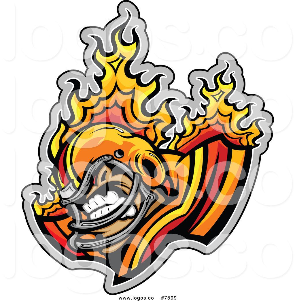 1024x1044 Royalty Free Clip Art Vector Logo Of A Tough Flaming Football