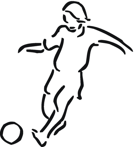 436x480 Girl Plays Football Outline Coloring Page