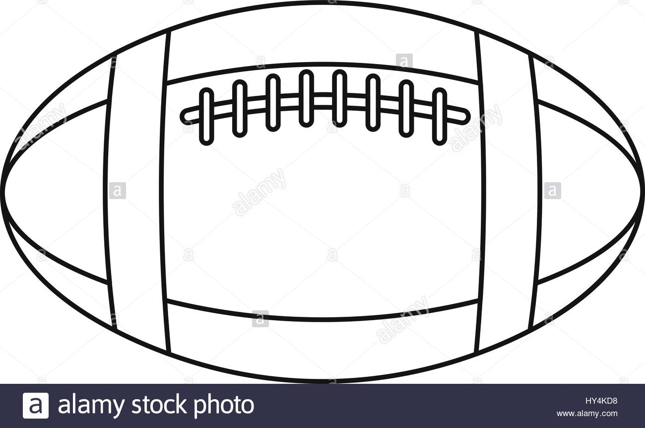 1300x862 Football Or Rugby Ball Icon, Outline Style Stock Vector Art