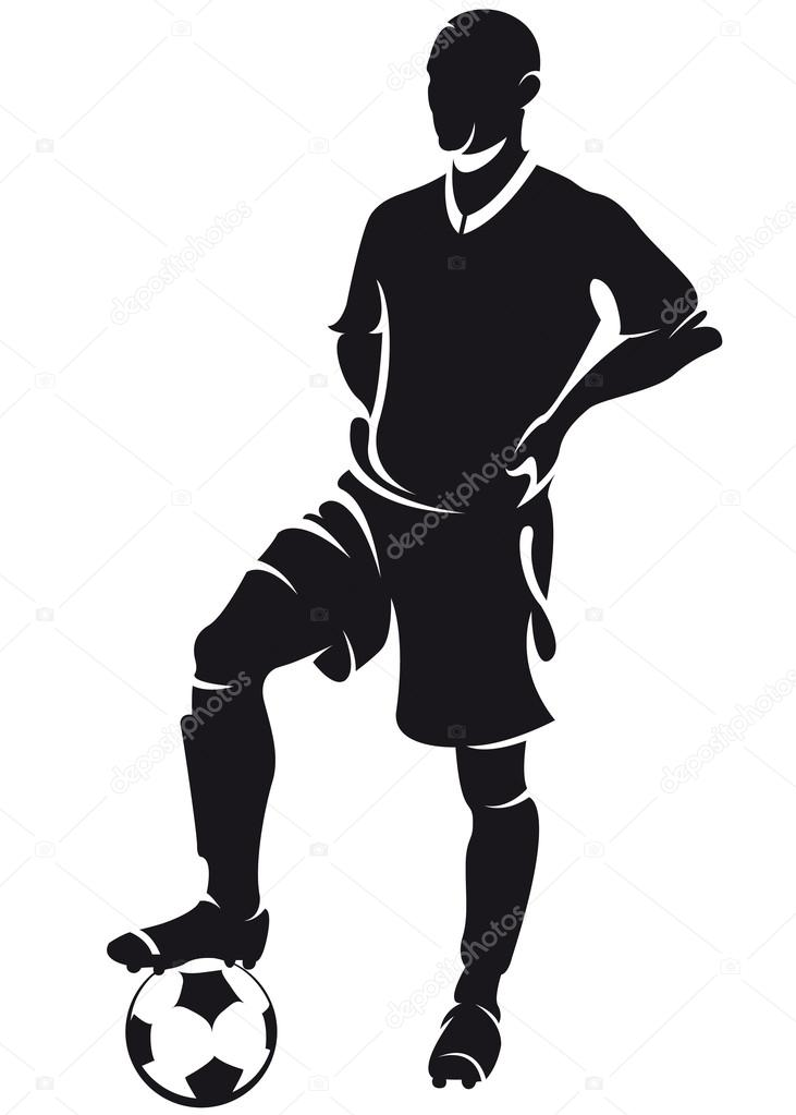 731x1023 Vector Football (Soccer) Player Standing, Silhouette Stock