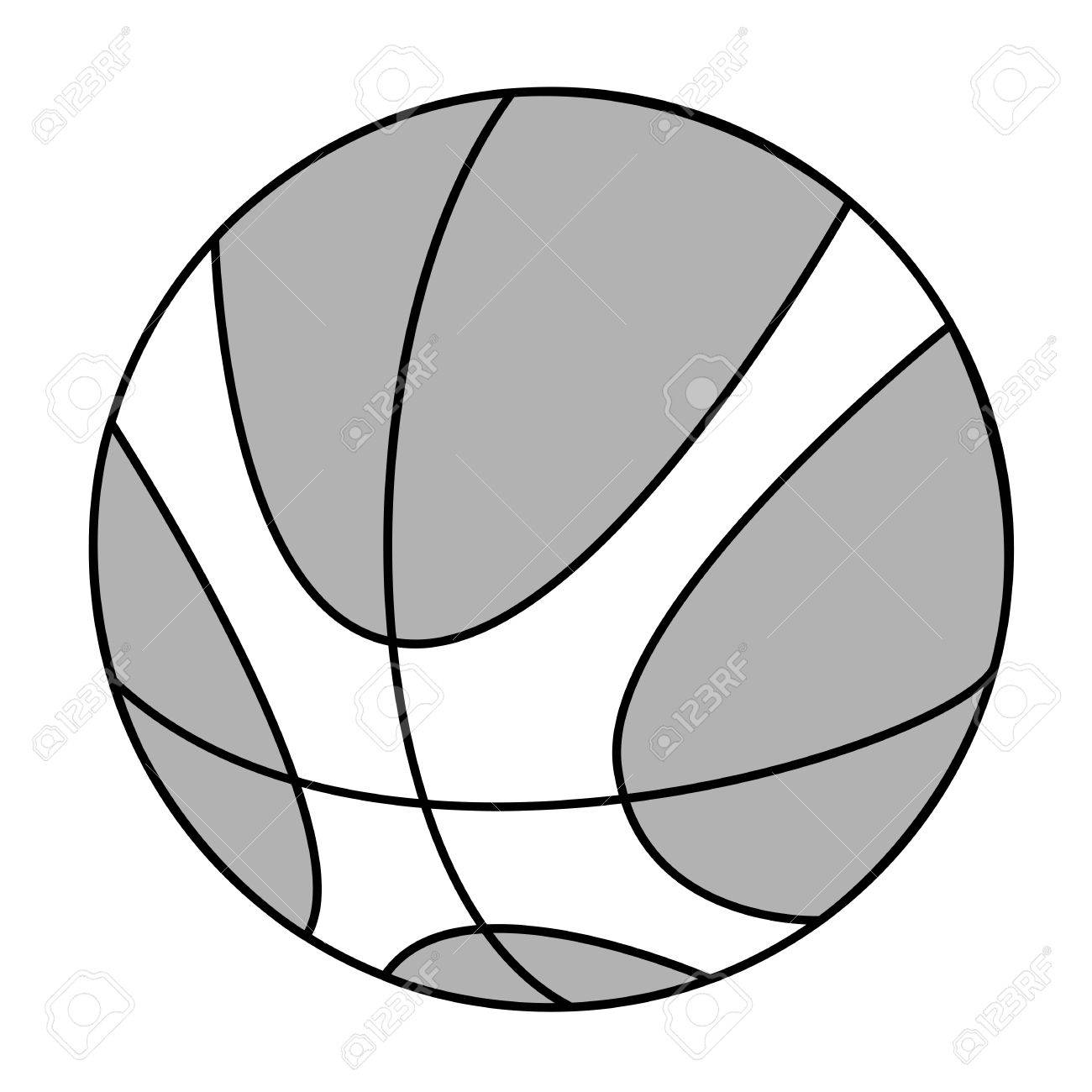 1300x1300 Black Outline Vector Basketball On White Background. Royalty Free