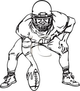 263x300 Black And White Cartoon Of A Football Player Holding The Ball