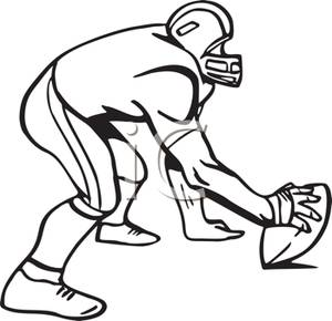 300x290 Black And White Cartoon Of A Football Player Ready To Hike
