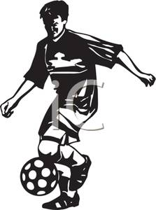 223x300 Black And White Cartoon Of A Soccer Player Running With The Ball