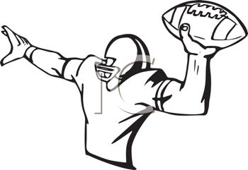 350x241 Black And White Football Player Throwing The Football