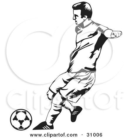 450x470 Clipart Illustration of a Black And White Male Soccer Player