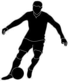 236x278 Football Player With Ball, Isolated On White. Photo Silhouette