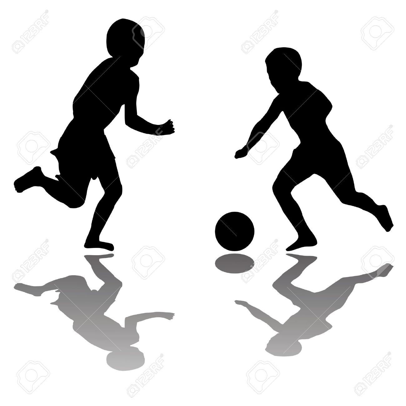 1300x1300 Kids Playing Football Clipart Black And White