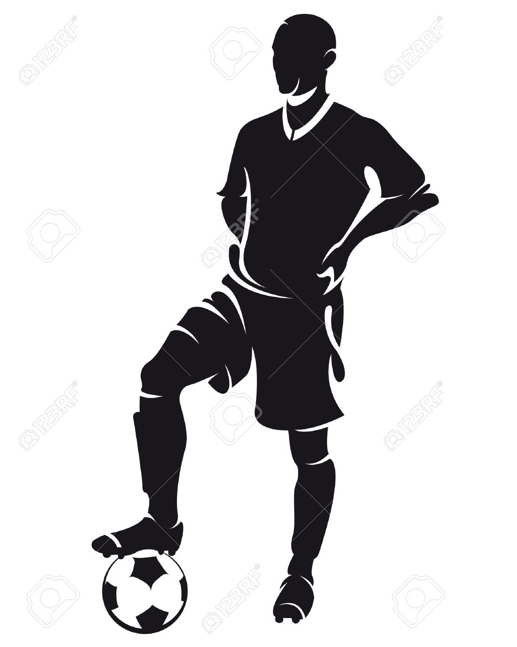 1040x1300 Vector Football (Soccer) Player Standing Silhouette With Ball