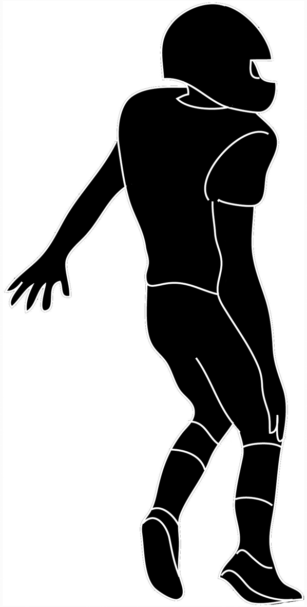 598x1181 Black And White Football Clipart