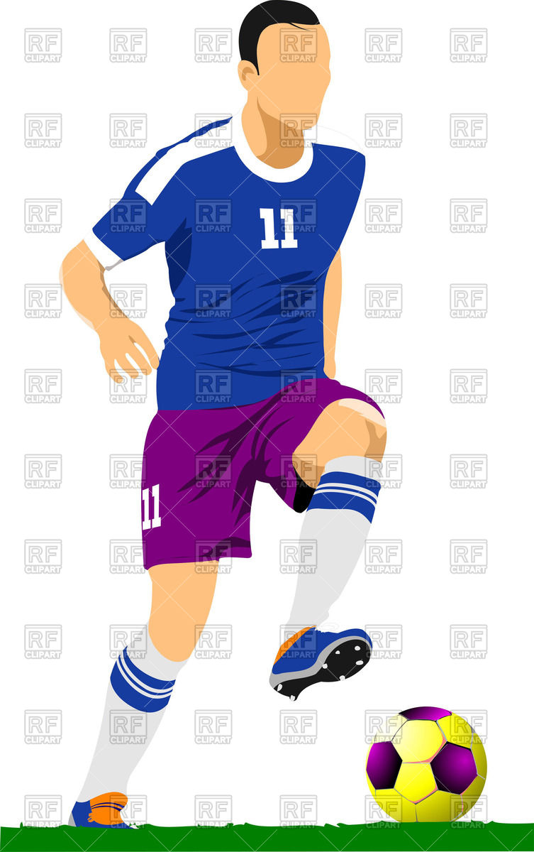 753x1200 Soccer (Football )player In Action Royalty Free Vector Clip Art