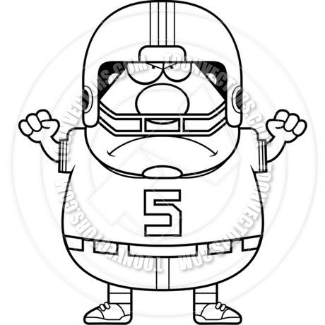 460x460 Cartoon Football Player Man Angry (Black and White Line Art) by