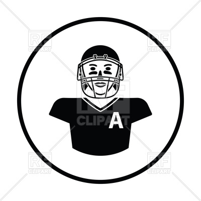 400x400 American football player in helmet icon Royalty Free Vector Clip