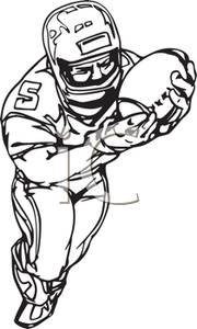 180x300 Black and White Cartoon of a Receiver Catching the Football