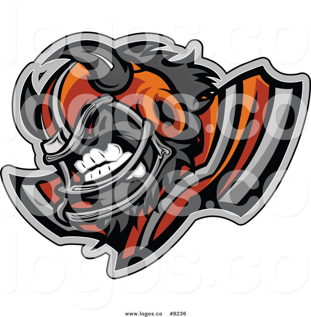 1024x1044 Royalty Free Clip Art Vector Logo Of An Aggressive Buffalo