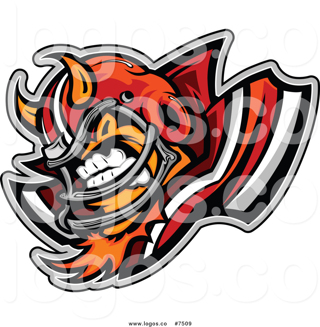 1024x1044 Royalty Free Clip Art Vector Logo Of An Aggressive Devil Football