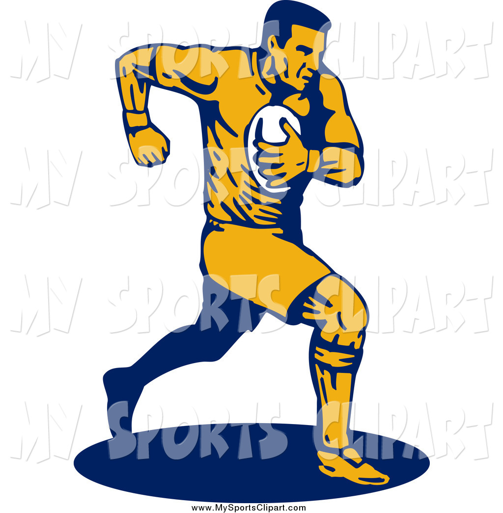 1024x1044 Sports Clip Art Of A Navy Blue And Yellow Running Rugby Football