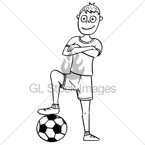 500x500 Cartoon Illustration Of Football Soccer Player Posing Wit · GL