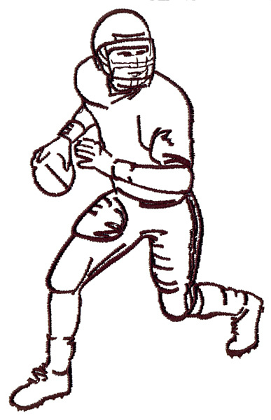 387x600 Football Player Outline Embroidery Designs, Machine Embroidery