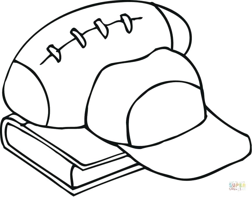 864x678 Outline Of Football Equipment And A Book Coloring Pages Free Page