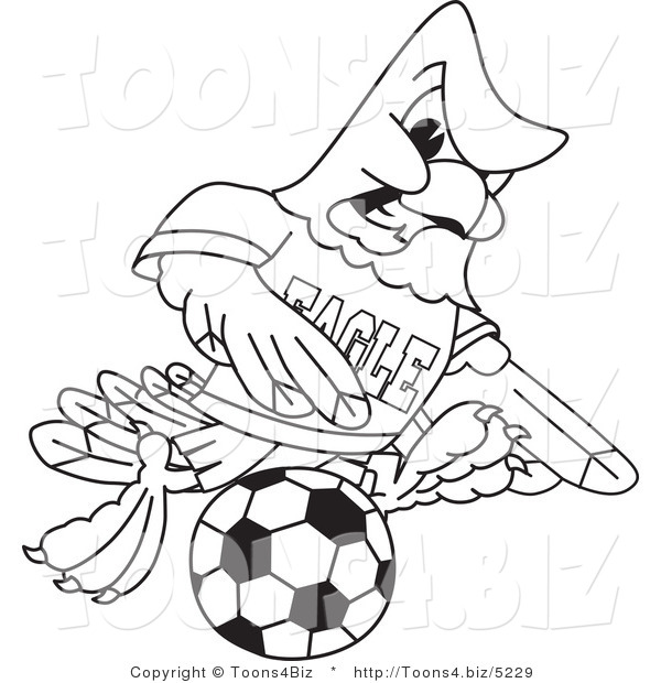 600x620 Vector Illustration Of A Bald Eagle Soccer Player Outline By