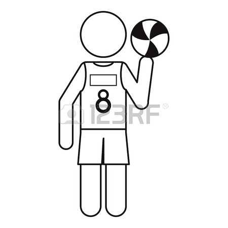 450x450 Volleyball Player Fine Black And White Outline Royalty Free
