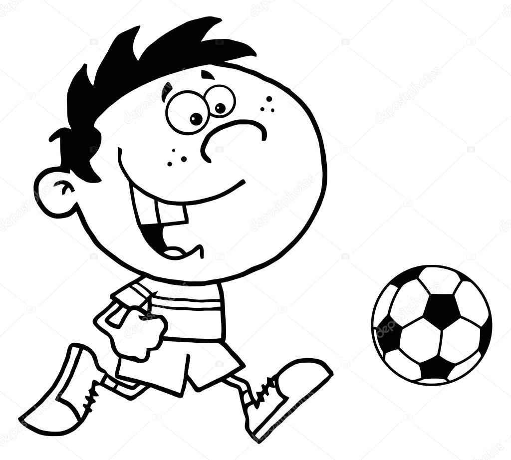 1024x922 Coloring Page Outline Of A Cartoon Soccer Player Boy Running After