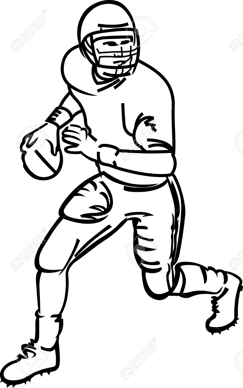 816x1300 Football Line Art Group