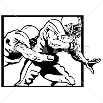 361x361 Sports Clipart Image of Black White Sacked Tackled Tackling